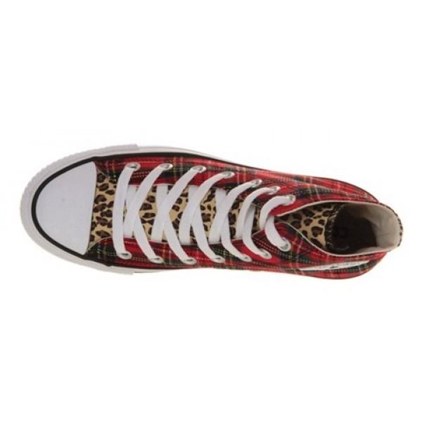 Converse All Star Hi Tartan Leopard Studs Women's Shoes