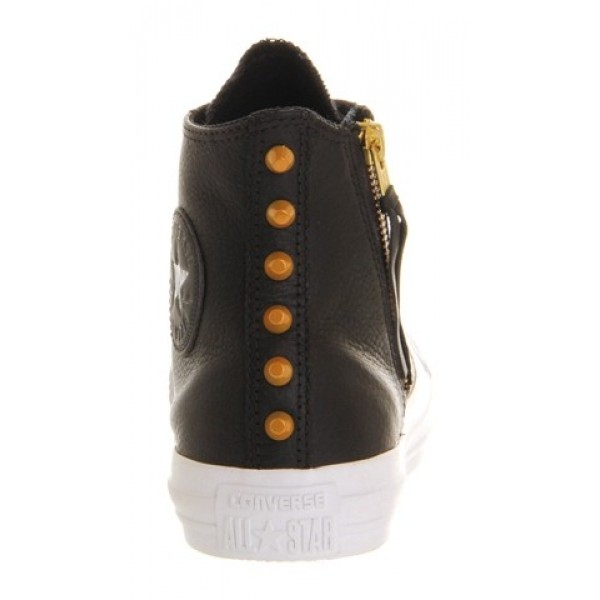 Converse All Star Hi Leather Side Zip Black Gold Women's Shoes