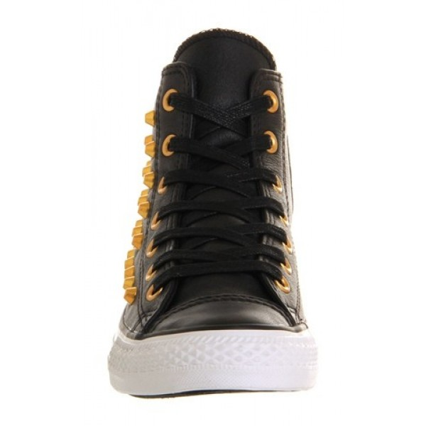 Converse All Star Hi Leather Black Gold Studs Unisex Shoes