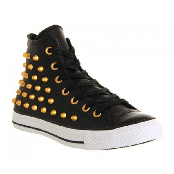 Converse All Star Hi Leather Black Gold Studs Unis...
