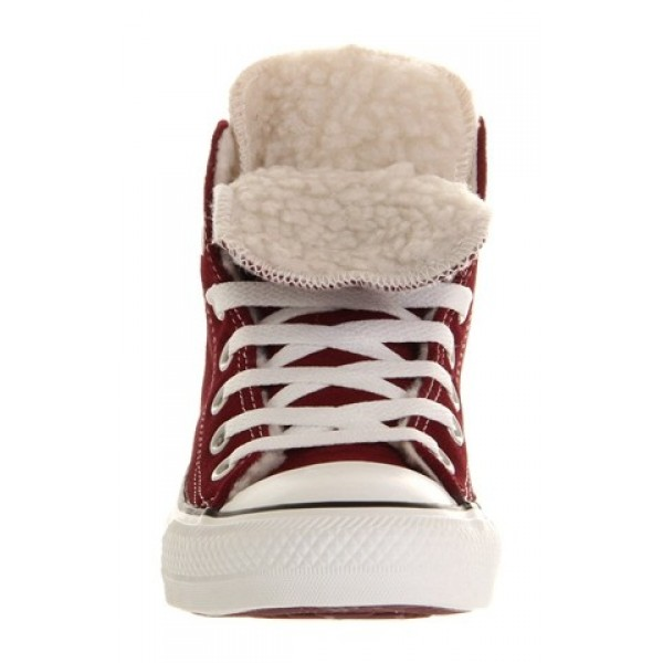 Converse All Star Hi Double Tongue Maroon Shearling Exclusive Women's Shoes