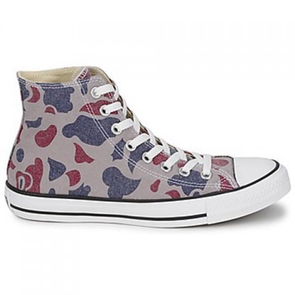 Converse All Star Camo Print Hi Grey Red Blue Men's Shoes