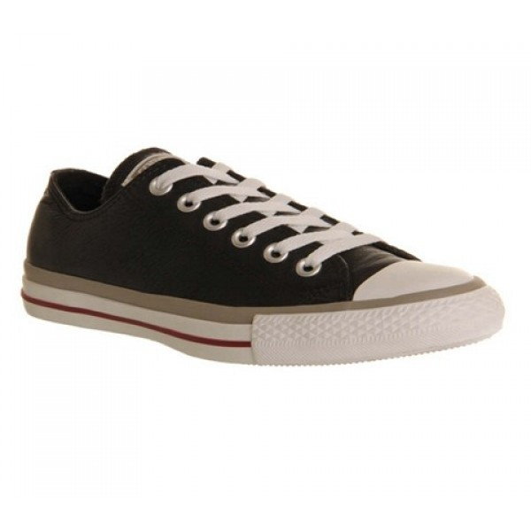 Converse All Star Low Leather Black Grey Garnet Ex...