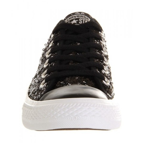 Converse All Star Low Black White Sequin Exclusive Unisex Shoes