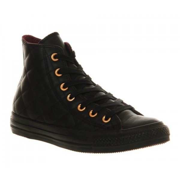 Converse All Star Hi Leather Quilted Black Mono Un...