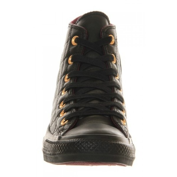 Converse All Star Hi Leather Quilted Black Mono Unisex Shoes