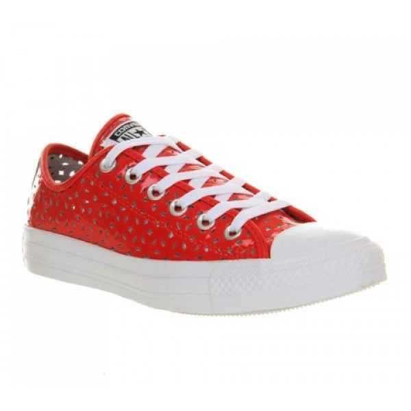 Converse All Star Low Leather Red White Perforated Women's Shoes