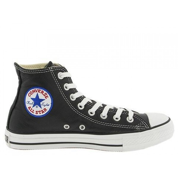 Converse Chuck Taylor All Star Leather Hi Black Wh...