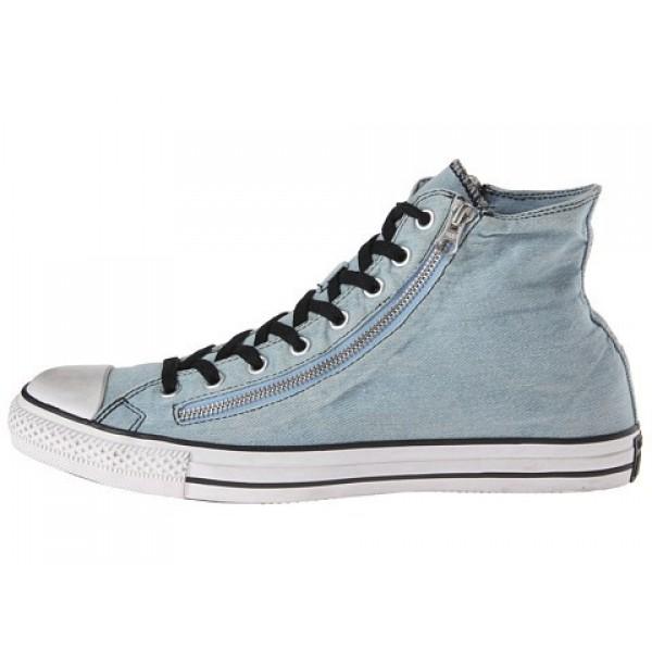 Converse Chuck Taylor All Star Denim Double Zip Hi Light Blue Men's Shoes