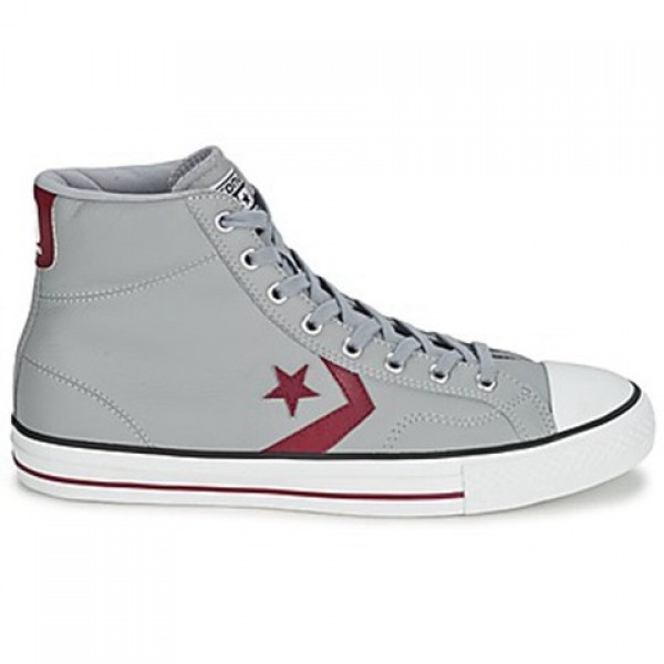Converse Star Player Leather Hi Grey Bordeaux Wome...