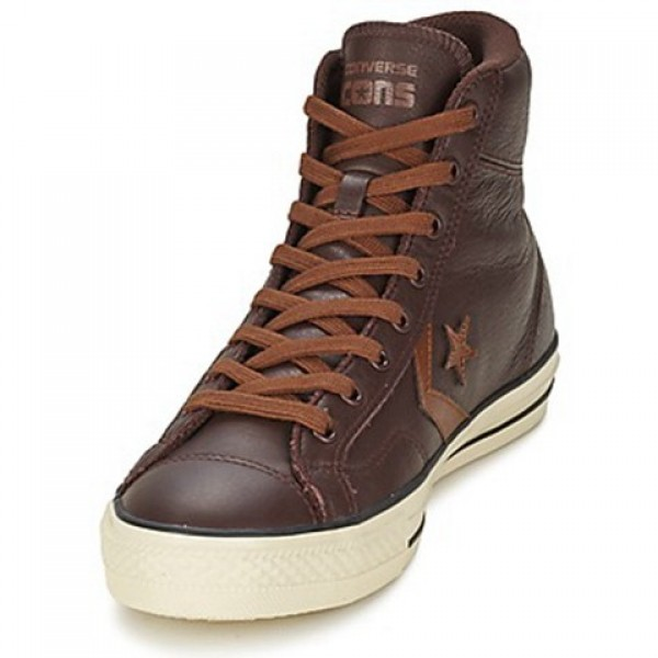 Converse Star Player Tonal Lea Hi Brown Men's Shoes