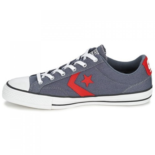 Converse Star Player Ox Grey Red Women's Shoes