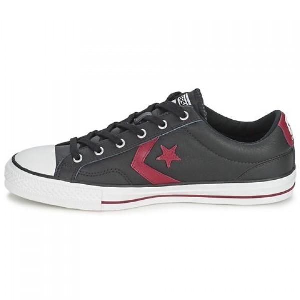 Converse Star Player Leather Ox Black Bordeaux Women's Shoes