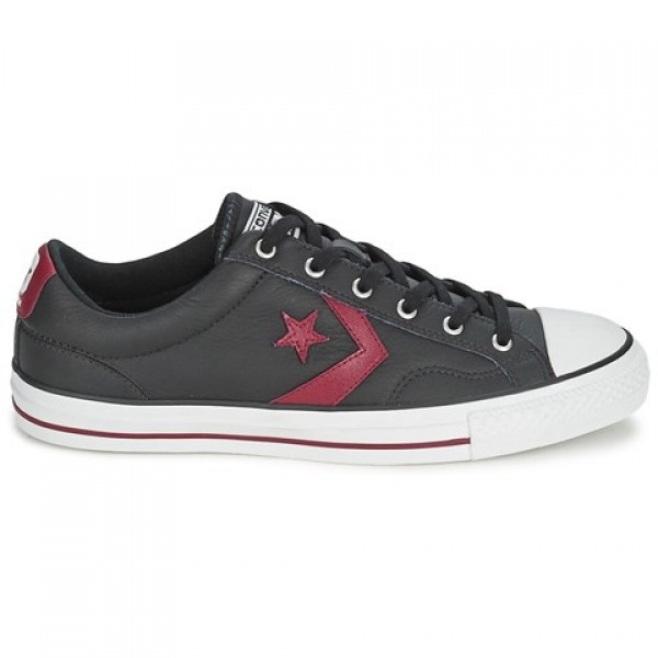 Converse Star Player Leather Ox Black Bordeaux Women's Shoes