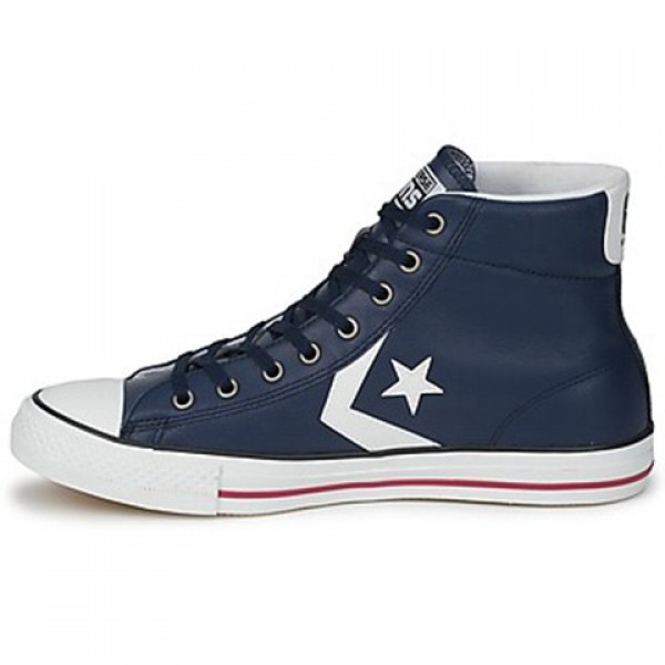 Converse Star Player Cuir Mid Marine Orange Women's Shoes