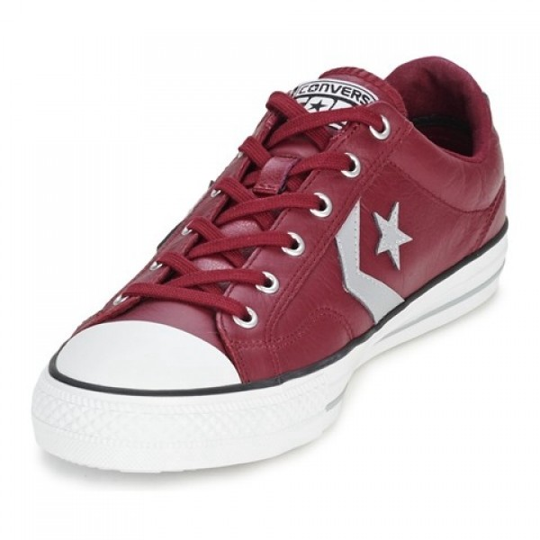 Converse Star Player Leather Ox Bordeaux Grey Women's Shoes