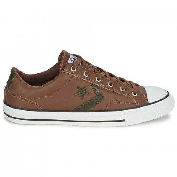 Converse Star Player Leather Ox Chocolate Kaki Women's Shoes