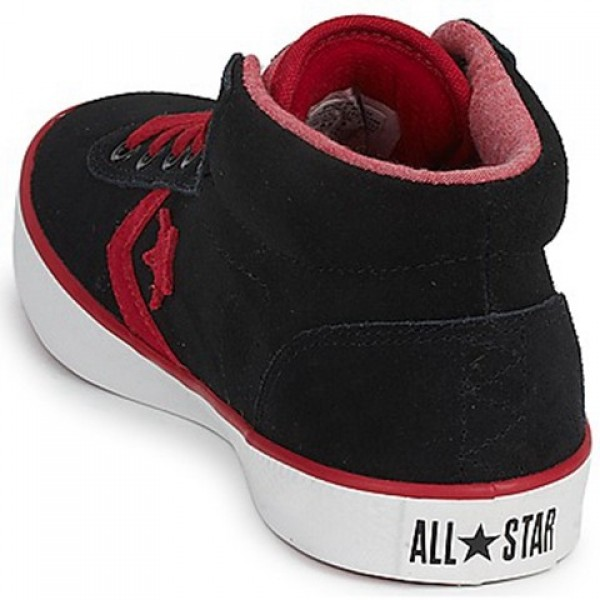 Converse Wells Leather Mid Black Red Men's Shoes