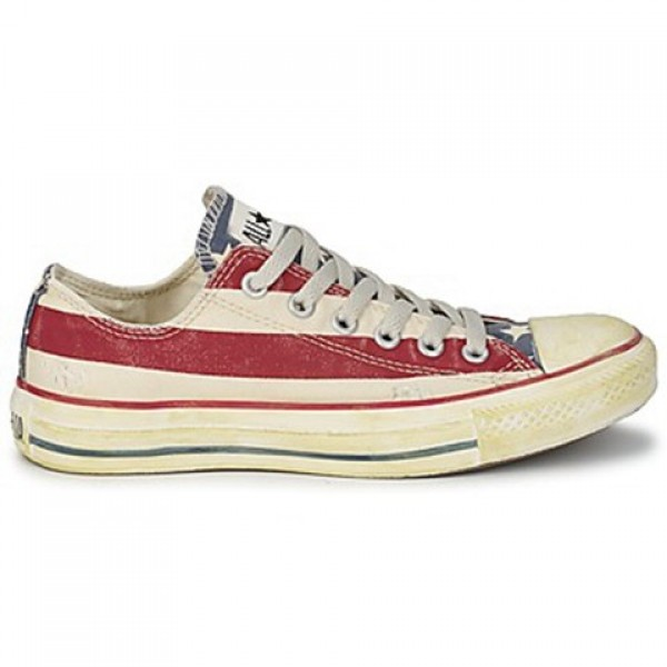 Converse All Star Stars & Bars Vintage Ox White Blue Red Men's Shoes