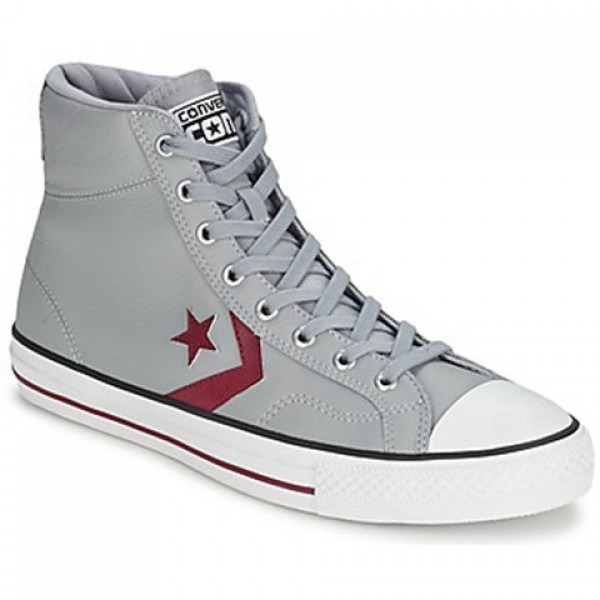 Converse Star Player Leather Hi Grey Bordeaux Men's Shoes