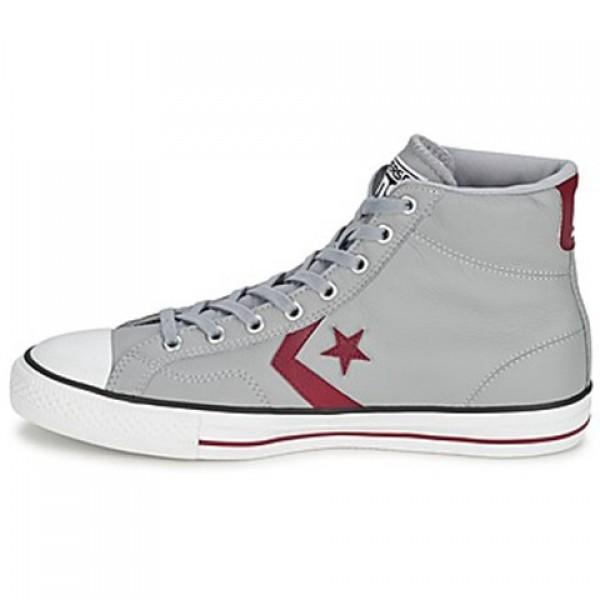 Converse Star Player Leather Hi Grey Bordeaux Men's Shoes