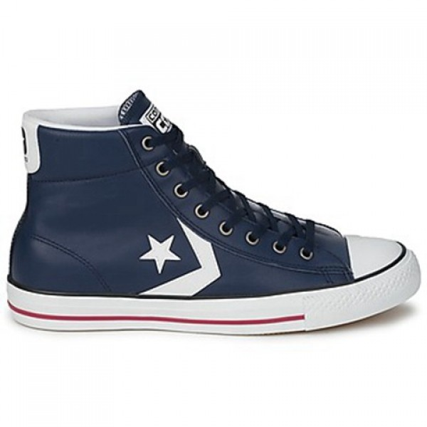 Converse Star Player Cuir Mid Marine Orange Men's ...