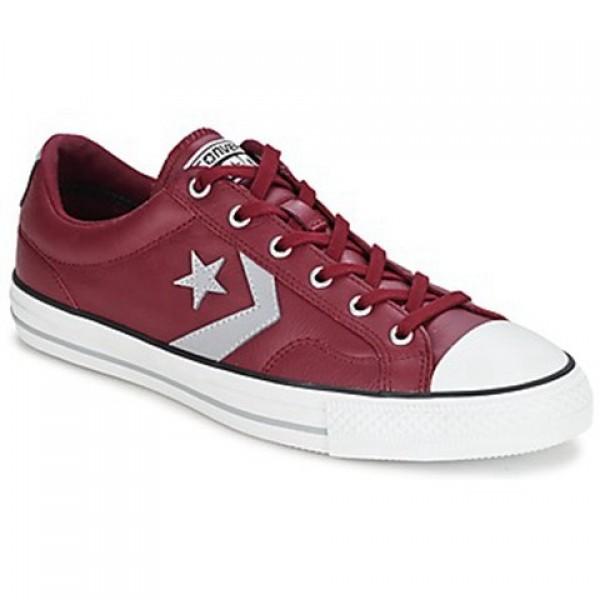Converse Star Player Leather Ox Bordeaux Grey Men's Shoes