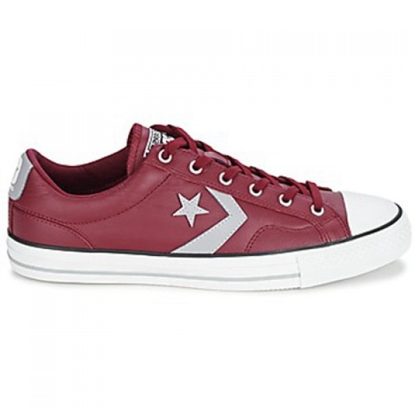 Converse Star Player Leather Ox Bordeaux Grey Men'...