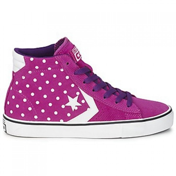 Converse Pro Leather Dots Suede Mid Purple White Women's Shoes