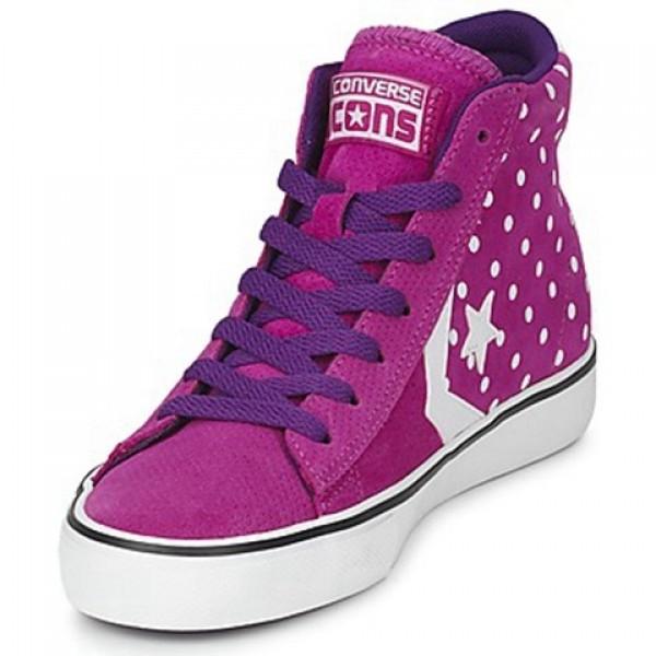 Converse Pro Leather Dots Suede Mid Purple White Women's Shoes