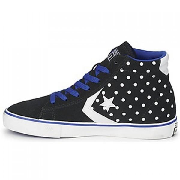 Converse Pro Leather Dots Suede Mid Black Blue Women's Shoes