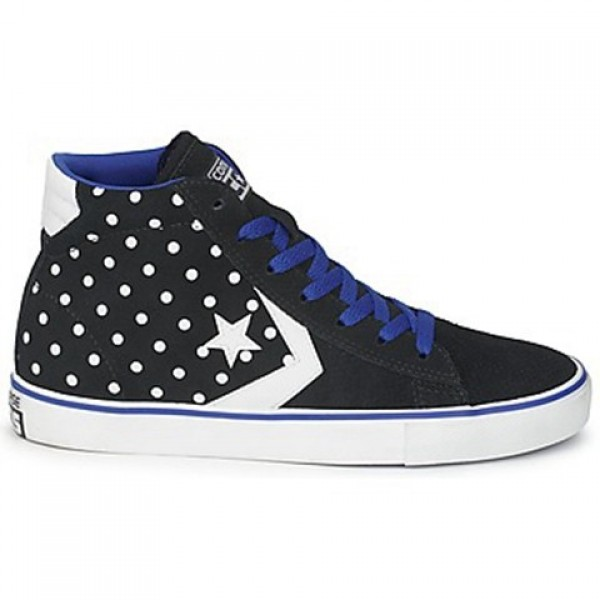 Converse Pro Leather Dots Suede Mid Black Blue Wom...