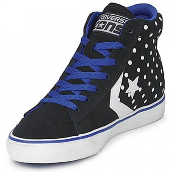 Converse Pro Leather Dots Suede Mid Black Blue Women's Shoes