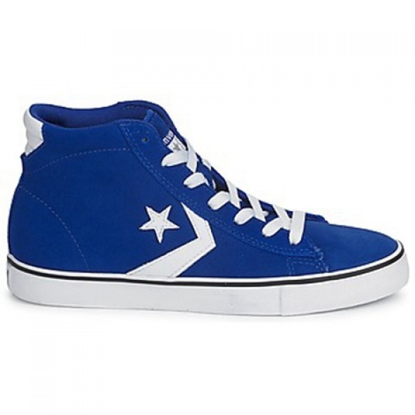 Converse Pro Leather Suede Mid Blue Dark White Men...