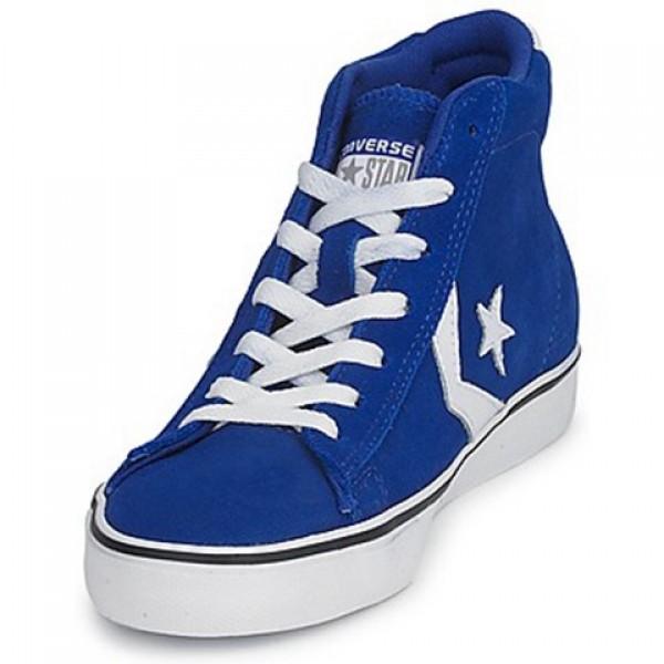 Converse Pro Leather Suede Mid Blue Dark White Men's Shoes