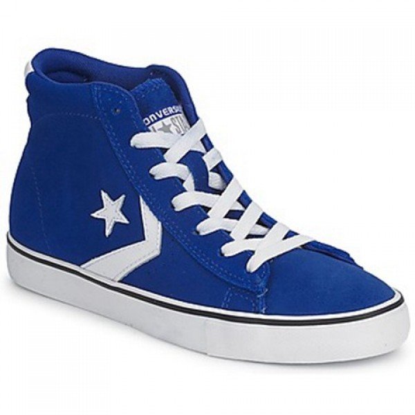 Converse Pro Leather Suede Mid Blue Dark White Men's Shoes